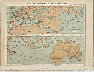 c1890 ANTIQUE MAP STATE OF QUEENSLAND AUSTRALIA