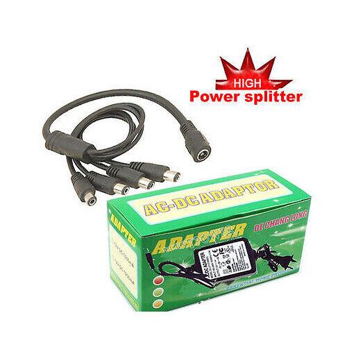 New 12V 2A Power Adapter 1 to 4 Power Splitter for 4 Security Camera J12v