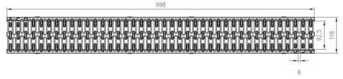 ACO Stegrost Kunststoff mit Microgrip 1000 x 118 mm