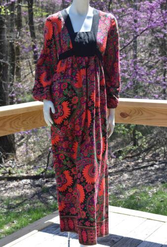 vintage 1960s bohemian floral maxi dress colorful