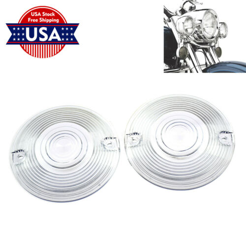 1 Pair Flat Turn Signal Clear Lens Cover Fit For Harley Touring FLTR FLTC FLSTC
