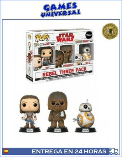 Funko Pop Pack Rey Chewbacca BB 8 Star Wars Rebel Three
