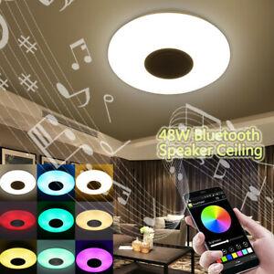 Modern-Music-Ceiling-Light-48W-36-LED-Bluetooth-Chandelier-Lamp-Fixture-RGB-USA