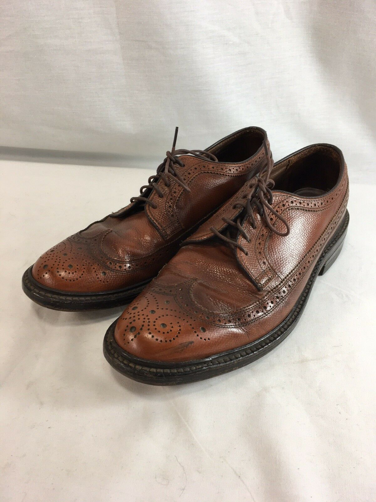 O'Sullivans Oxfords Wing Tips shoes Mens 9 Narrow Brown Pebbled Leather