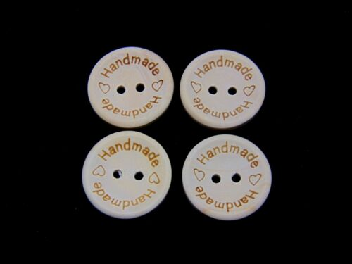 "25mm Round Natural Wooden /"" HANDMADE /"" BUTTONS Crafts Sewing Label UK SELLER"