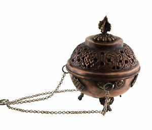 Censer-Burn-Tibetan-Diameter-3-7-8in-Suspension-Ritual-Buddhist-Copper-5262