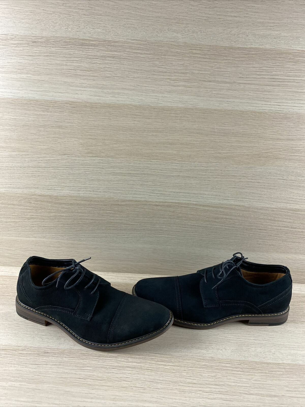 J75 by JUMP 'PAULSON' Black Leather Lace Up Cap Toe Oxfords Men's Size 9.5