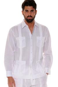Mens-Bohio-100-Linen-White-Cuban-Guayabera-4-Pocket-Shirt-in-S-XL-MLS501