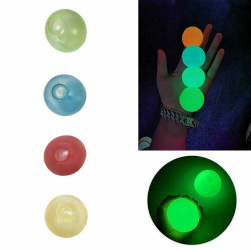 4pcs Novelty Decompression Sticky Wall Ball Luminous Sticky Target Ball Kids Toy