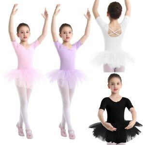 Girls-Ballet-Dance-Dress-Kids-Leotard-Ice-Skating-Tutu-Skirts-Dancewear-Costume