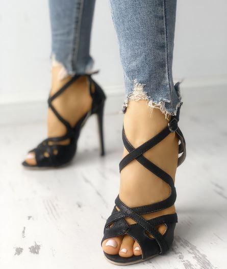 Sandale stiletto tronchetto nero cinturino 12 cm  simil pelle eleganti 1268