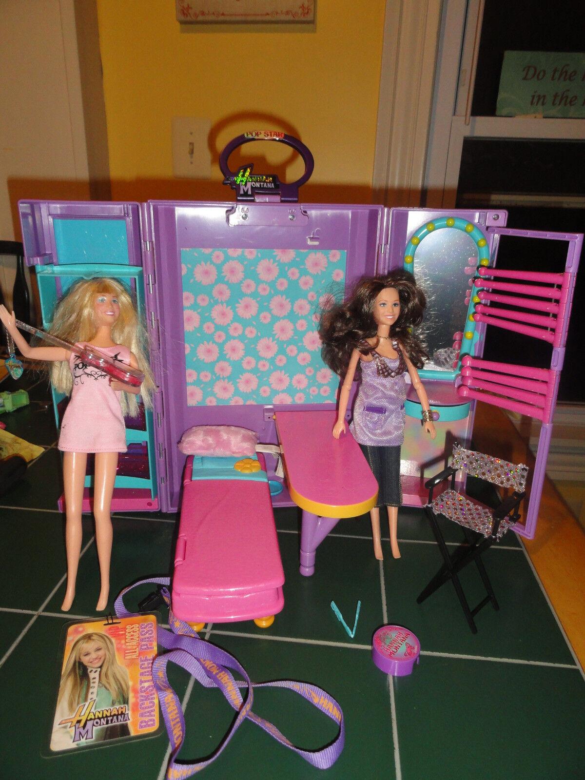 HANNAH MONTANA Secret Celebrity Carrying Case+2 Hannah Dolls.1 sings+Xtras Rare