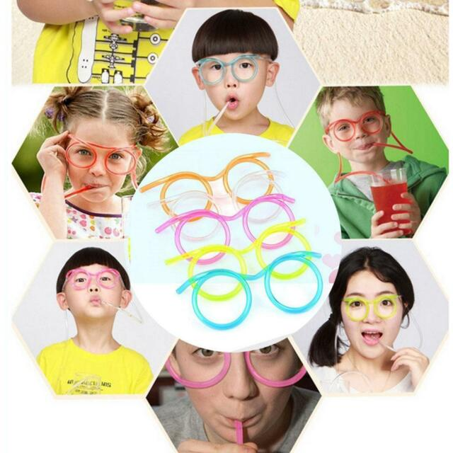 Newest Creative Drink Straws Kids Party DIY Crazy Funny Glasses Drinking Tube ㅐ