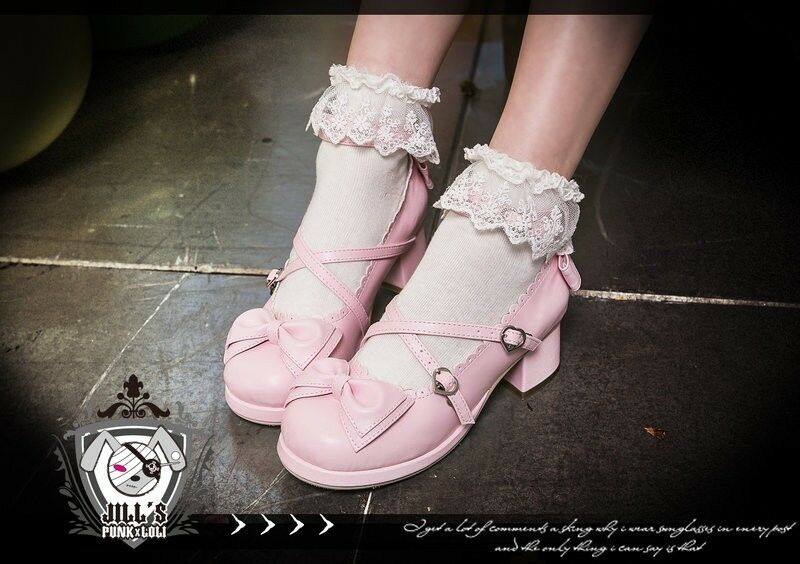 Lolita fairy baby doll Marianne Apple Maid scallope Mary-Jane Chaussures à talon 9988 PN