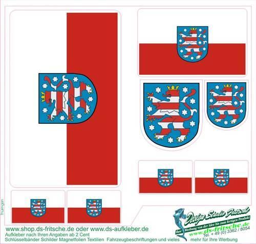 8 Thüringen SUV Bus Auto Van Bike Helm Sticker Laptop Handy Flagge Fahnen Wappen
