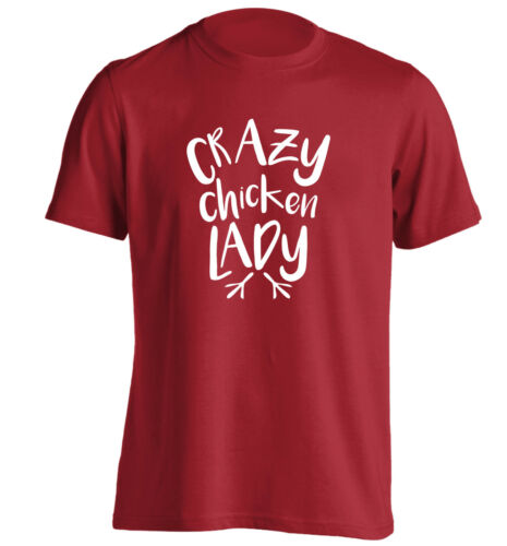 Crazy chicken lady T-shirt pet animal cute funny gift hen farm farmer eggs 1839