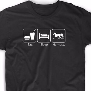 Eat sleep harness racing t shirt horse race sulky driver for Race car driver t shirts
