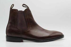 Homme-Fait-a-la-Main-Chelsea-Bottes-Daim-Bottines-veritable-marron-cuir-veau-Formal-Shoes