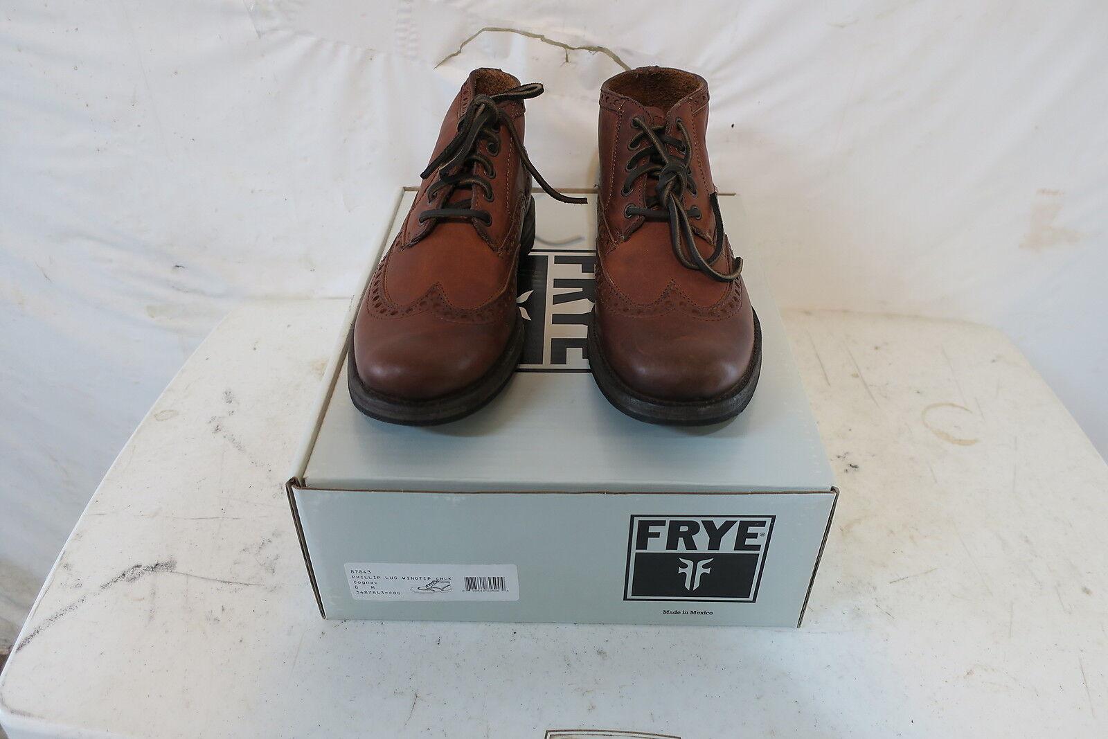 Frye Phillip Lug Wingtip Chukka Men's 8.0 Cognac Retail $398