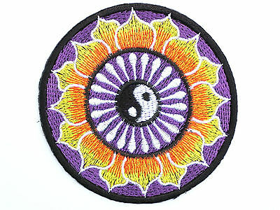 Yin Yang Purple Lotus Yoga Tao Embroidered Sew Iron On Shirt Jeans Badge Patch