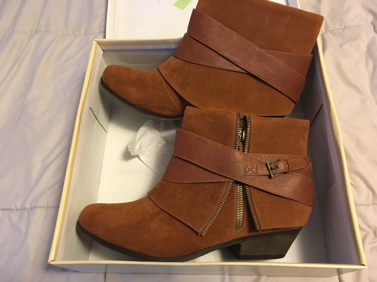 NEW NIB Fahrenheit DEBORAH-02 LOW Heel Booties Round Toe Women shoes CAMEL SZ 9