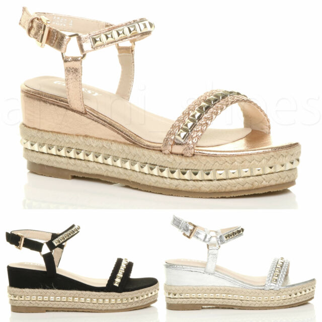 WOMENS NEW UK FLAT GOLD SILVER SANDALS SUMMER BEACH HOLIDAY ESPADRILL SHOES SIZE