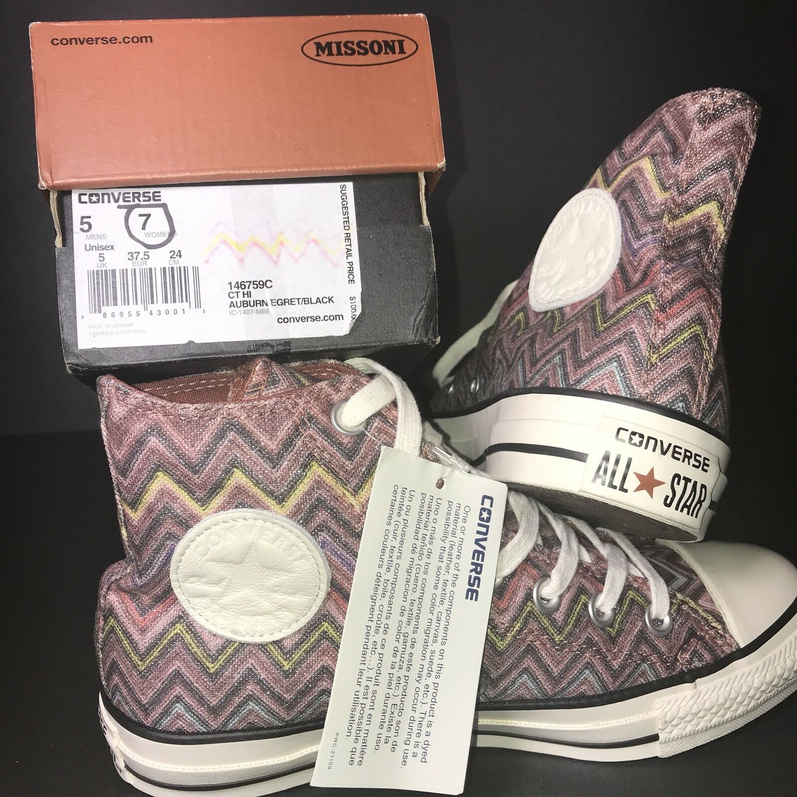 � Womens Size 146759c 7 Converse x Missoni 146759c Size Multi-Color High Top All Star Pink 904b33