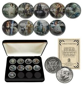STAR-WARS-1977-Kennedy-JFK-Half-Dollar-9-Coin-Set-with-Box-OFFICIALLY-LICENSED