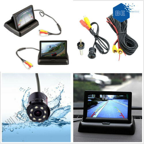 Car Reverse Parking 170° Wide-Angle HD Camera Rear View Foldable Display Monitor