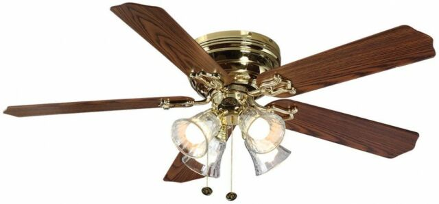 Ceiling Fan Polished Br Indoor W 5 Reversible Blades And Light Kit