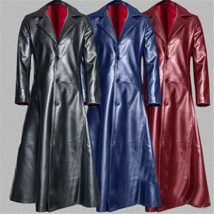 Hombres sólido solapa gabardina de cuero PU Abrigo abotonadura  simple largo abrigo nuevo  marcas en línea venta barata