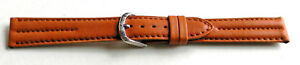 16mm-FLEURUS-TAN-TWIN-PADDED-STITCHED-CALF-LEATHER-WATCH-BAND-STRAP-LONG