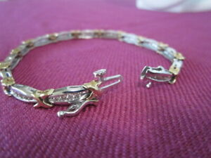 Two-Tone-Gold-XO-Hugs-amp-Kisses-1-00ctw-Genuine-Diamond-Tennis-Bracelet-7-034-L