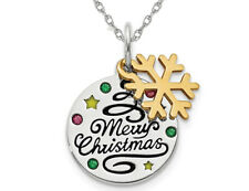 Sterling Silver Snowflake Merry Christmas Pendant Necklace with Chain