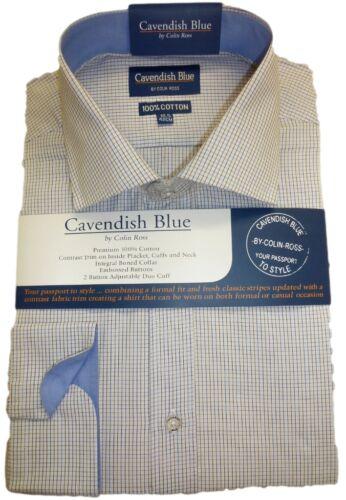 """17.5/"""" Bnwt Free post 100/% coton fine Tattersall chemise à carreaux bleue trim 14,5 /"""""""