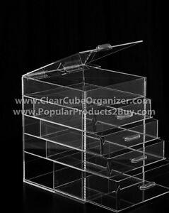 Acrylic-Lucite-Clear-Cube-Makeup-Organizer-The-Kardashians-Display-4-plus-lid