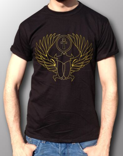 Scarab Ankh Egyptian Illest Swag Drake Dope Trap Gold Chrome T-Shirt Mens Black