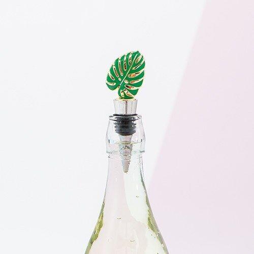 Green Tropical Leaf Wine Bottle Stoppers Bridal Shower Wedding Favors