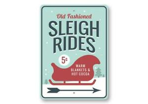 winter sign Old fashioned sleigh rides hot cocoa sign christmas sign
