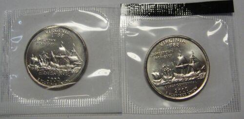 2000-P /& D Virginia State Quarters GEM BU In Unopened Mint Set Cello Packs