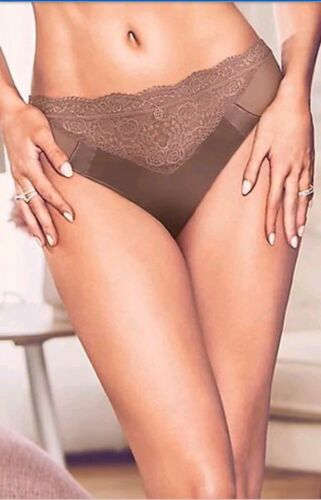 Details about  /M/&S ROSIE FOR AUTOGRAPH Bronze Silk French Design Lace Knickers Pants Briefs 28