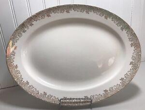 Edwin M. Knowles China Company Oval Platter Semi Vitreous Gold Trim  43-7 U.S.A.