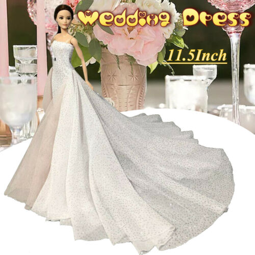 White Wedding Dress Gown for 11.5 inch Doll Evening Party Clothes for 1//6 Dolls