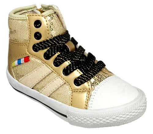 Chipmunks DALLAS GOLD Kids Leather Hi Top Trainer Shoes 4-10 F//G Fit NEW BOXED
