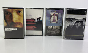 Lot of 4 - Vintage Cassette Tapes - Van Morrison, John Denver, U2, Steely Dan