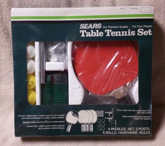 Vintage Sears Premium Table Tennis Set Ping Pong 26161 4 Player Set