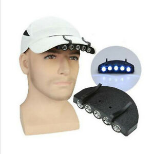 5-LED-Clip-Hat-Cap-Lamp-Light-Headlamp-Camping-Hiking-With-Batteries-Fishing-hs