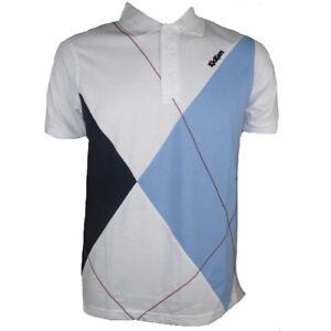 Kickers-Polo-Shirt-Optic-White-Blue-Mens-Forcourt-Tennis-Sports-Top-size-Small