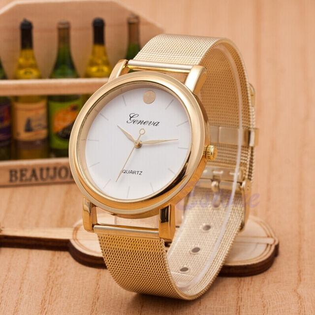 Fashion Women Girls Classic Gold Geneva Quartz Stainless Steel Wrist Watch Gayly