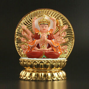 12-5cm-China-Tibetan-Buddhism-Resin-18-Arms-Cundhi-Bodhisattva-Kwan-yin-Buddha